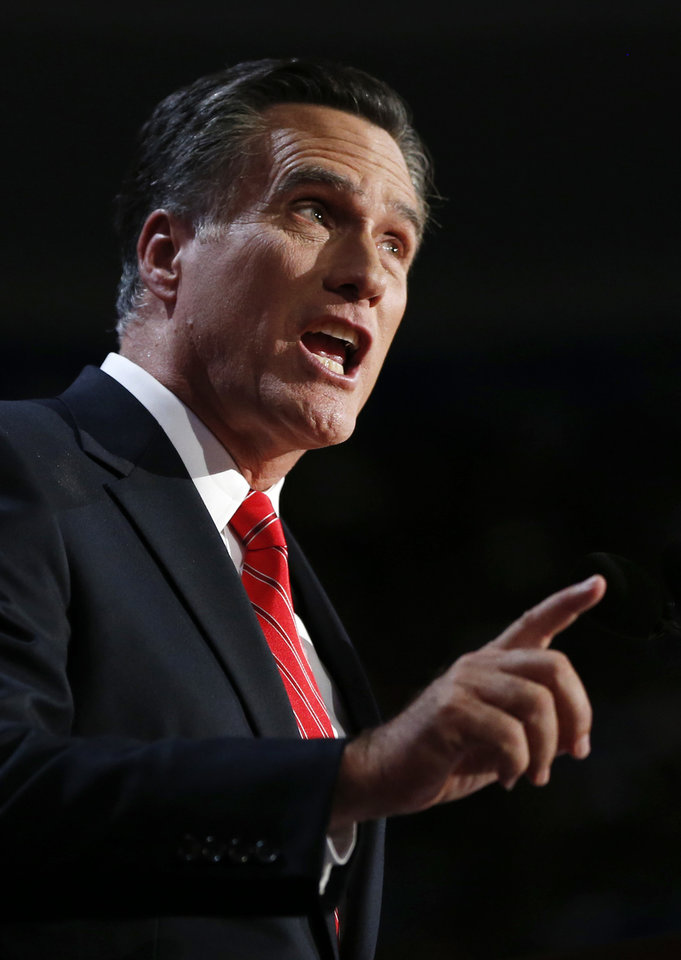 Photo -   Republican presidential nominee Mitt Romney addresses delegates before speaking at the Republican National Convention in Tampa, Fla., on Thursday, Aug. 30, 2012. (AP Photo/Jae C. Hong)