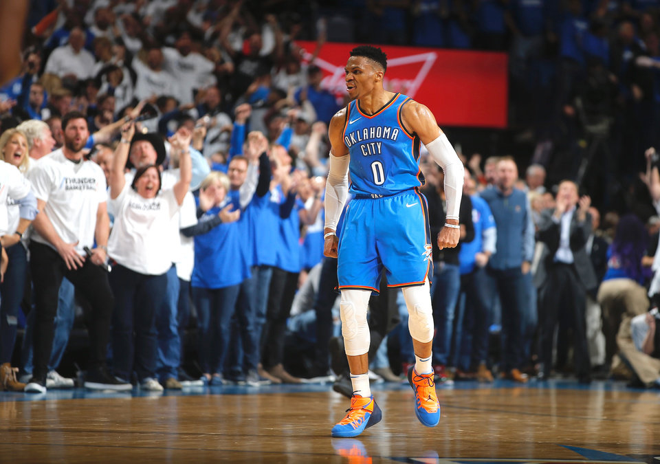 Photo -  Oklahoma City's Russell Westbrook celebrates after a basket during Game 5 against Utah on Wednesday. [Photo by Bryan Terry, The Oklahoman]