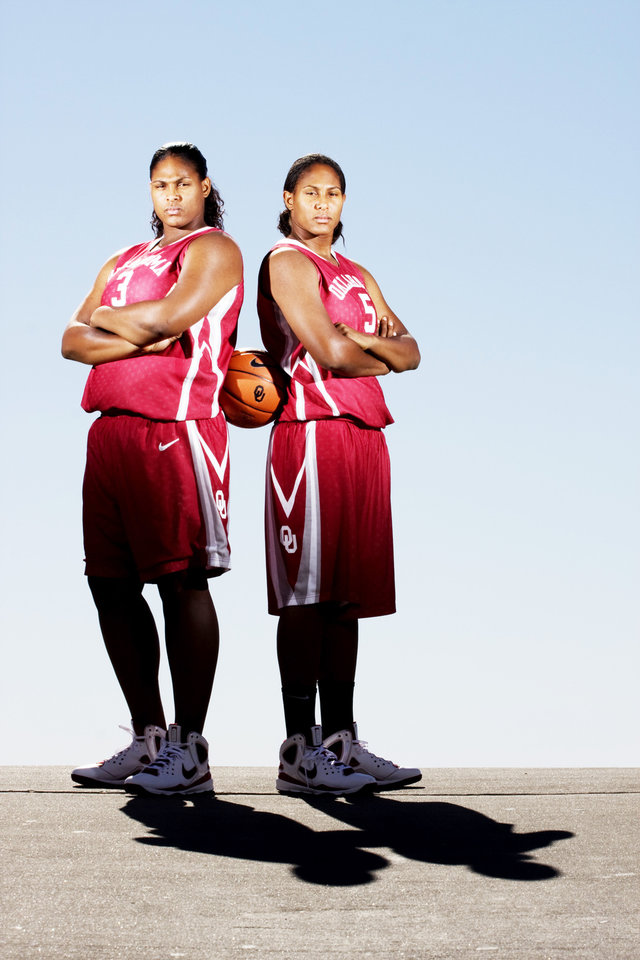 Photo - UNIVERSITY OF OKLAHOMA: OU women's college basketball players Courtney Paris, left, and her sister Ashley Paris  in Norman at the Lloyd Noble Center Friday, Nov. 7, 2008. PHOTO BY DOUG HOKE THE OKLAHOMAN. ORG XMIT: KOD