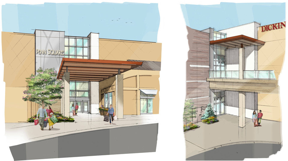 Photo - An artist's rendering shows how Penn Square Mall's entrances will look after the remodel is complete. Photo provided