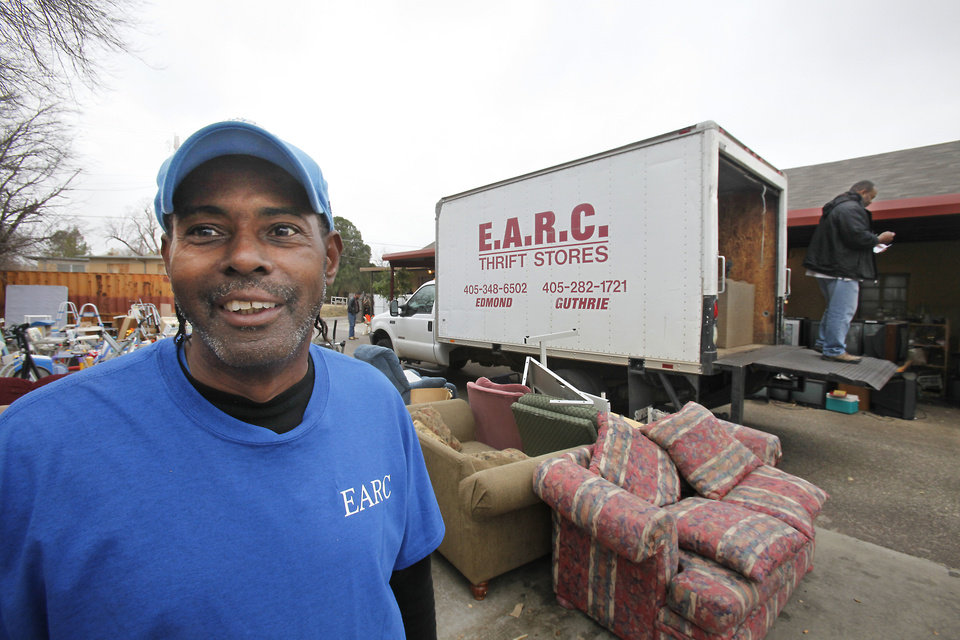 Photo - Mark Jarrett, dock supervisor and job coach, is shown at an EARC Thrift Store in Edmond.