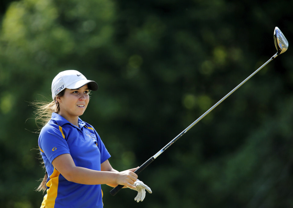 Photo - Mikera Morris of Dibble High School   during the 2014 Class 2A girls' golf state championship tournament  Wednesday, May 7, 2014, at Trosper Golf Course in Del City.  Photo by Jim Beckel, The Oklahoman