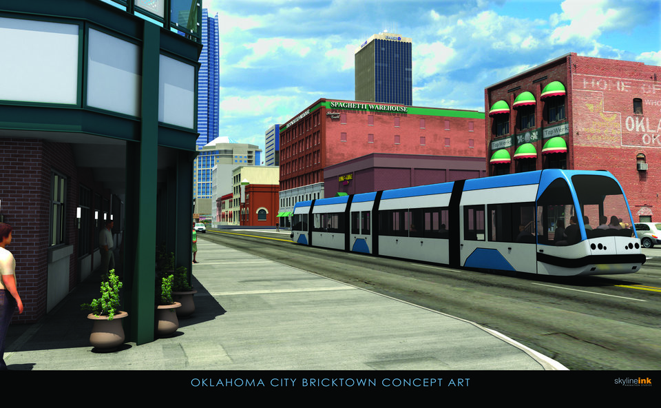 Photo - An artist's drawing shows what a downtown streetcar might look like. City officials plan to build five to six miles of streetcar track as part of MAPS 3. Maps 3 Streetcar Renderings, Monday, November 23, 2009.  ORG XMIT: KOD