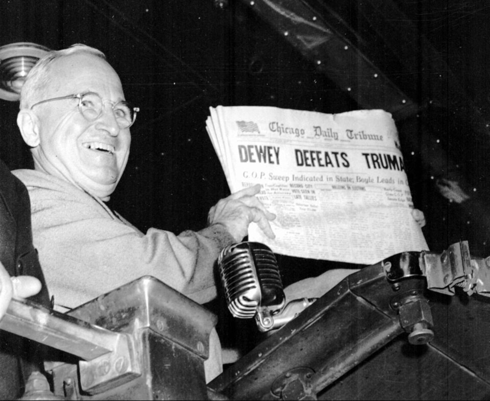 President Harry Truman holds up a copy of the Chicago Tribune, published on election night Nov. 11, 1948 in St. Louis with the incorrect and now-famous headline �Dewey Defeats Truman.� AP PHOTO FROM THE OKLAHOMAN ARCHIVES