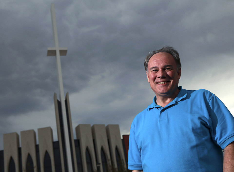 The Rev. Rev. Kevin Clarkson stands outside First Baptist Church in Moore, where he is senior pastor. Clarkson will be one of the speakers at the Baptist General Convention\'s 2013 State Evangelism Conference in Oklahoma City. John Clanton - The OKlahoman