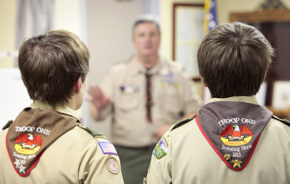 "Scouts wearing ""Scouting Since 1913"" neckerchiefs while listen to Scout Master Ron Butts during Troop 1's meeting at St. Mary's Episcopal Church, Monday, January 28, 2013.  Boy Scout Troop 1 we celebrate it's 100th year of continues charter this year. Photo By David McDaniel/The Oklahoman"