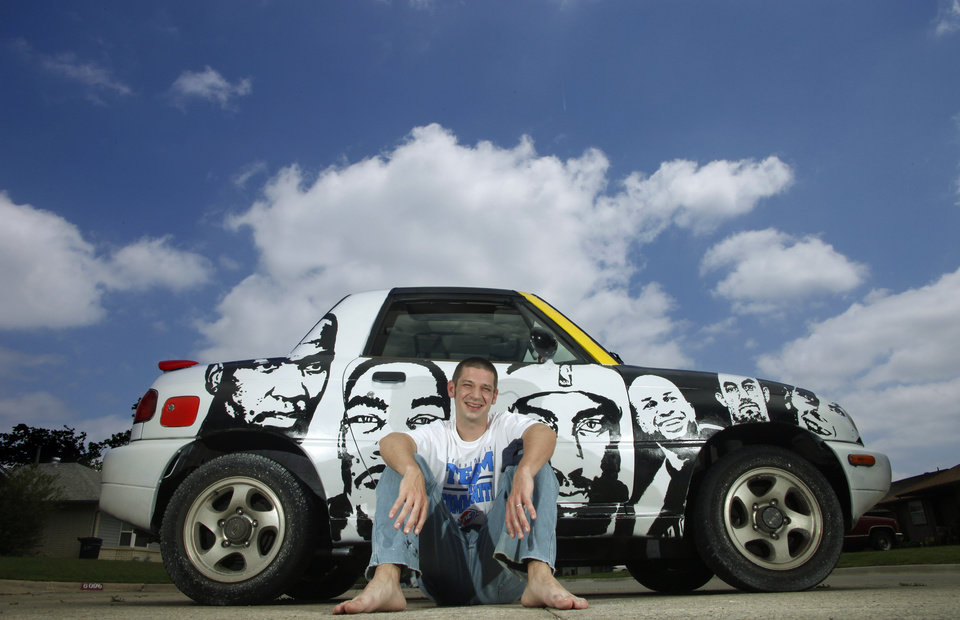 Drew Hooper and his car he painted with the faces of Thunder players in Moore Wednesday, May 2, 2012. Face from left: Kendrick Perkins, Kevin Durant, James Harden, Derek Fisher, Nick Collison and Cole Aldrich. Photo by Doug Hoke, The Oklahoman