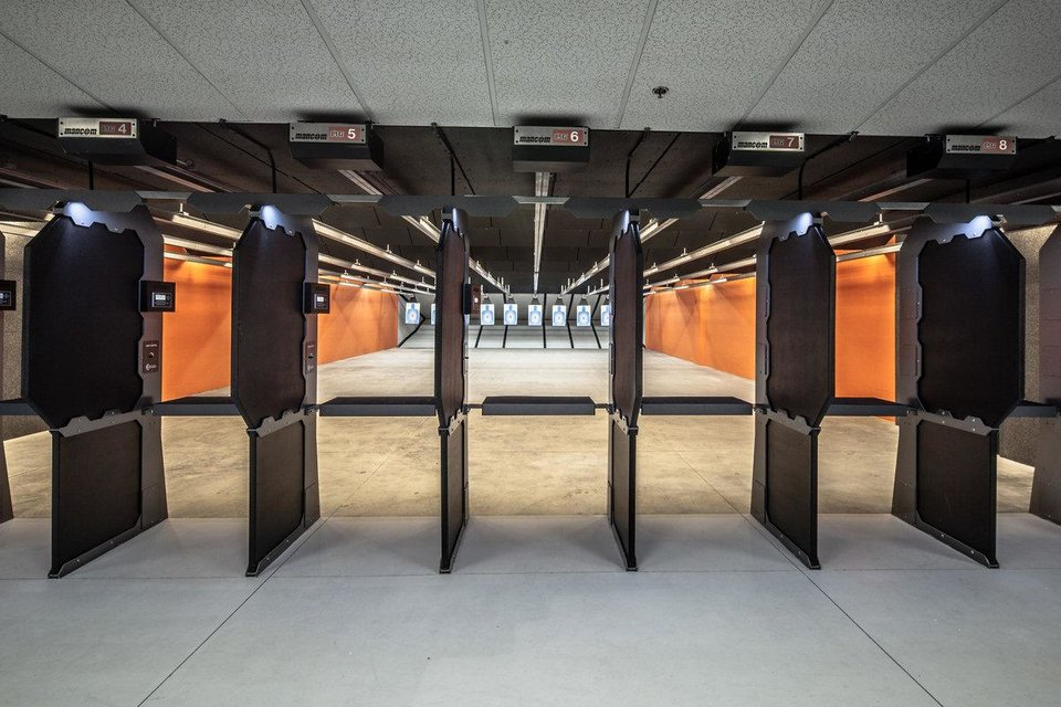 Photo - A rendering of the shooting lanes show plans for Wilshire Gun. All of the shooting lanes will feature ballistics-rated stalls and overhead baffles for additional safety. Rendering provided