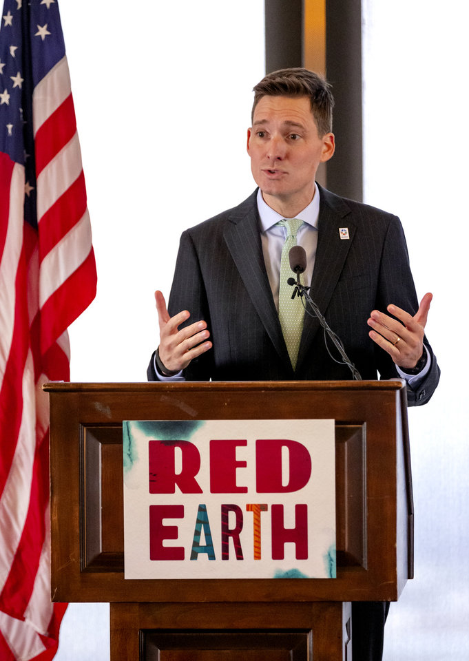 Photo - Lt. Gov. Matt Pinnell speaks during a Red Earth press conference at the Petroleum Club in Oklahoma City, Okla. on Monday, Feb. 17, 2020. The news conference announced a new location for the annual Red Earth Festival, a new Fall event to mark Oklahoma City's Indigenous PeopleÕs Day and the launch of arts events around the state.  [Chris Landsberger/The Oklahoman]