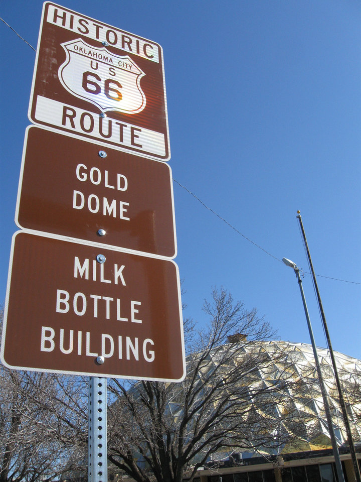Photo - New signs mark the stretch of NW 23 between Classen Boulevard and Broadway as part of historic Route 66. Photo by Steve Lackmeyer, The Oklahoman