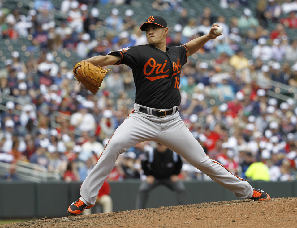 Photo - Baltimore Orioles starting pitcher Wei-Yin Chen delivers to the Minnesota Twins during the fourth inning of a baseball game in Minneapolis, Saturday, May 3, 2014. (AP Photo/Ann Heisenfelt)