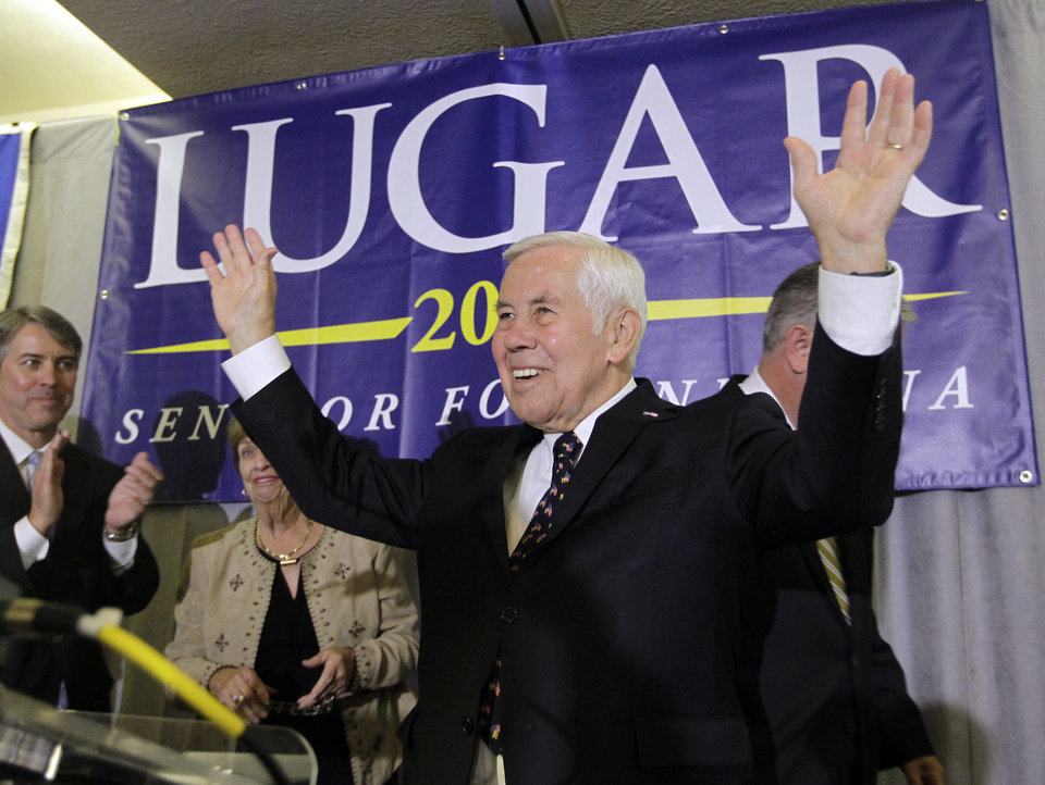 Photo -   Sen. Richard Lugar reacts after giving a speech Tuesday, May 8, 2012, in Indianapolis. Lugar lost his Republican Senate primary on Tuesday to state Treasurer Richard Mourdock. (AP Photo/Darron Cummings)