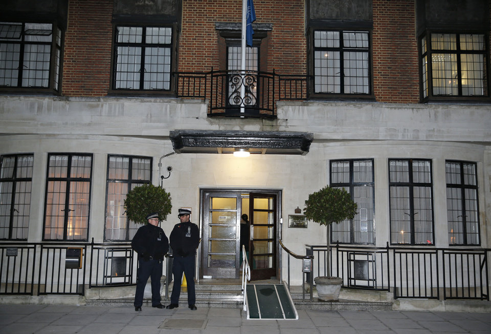 Photo - Two policemen stand guard outside King Edward VII hospital , in central London, Friday, Dec.  7, 2012.  King Edward VII hospital says a nurse involved in a prank telephone call to elicit information about the Duchess of Cambridge has died. The hospital said Friday that Jacintha Saldanha had been a victim of the call made by two Australian radio disc jockeys. They did not immediately say what role she played in the call.  (AP Photo/Lefteris Pitarakis)