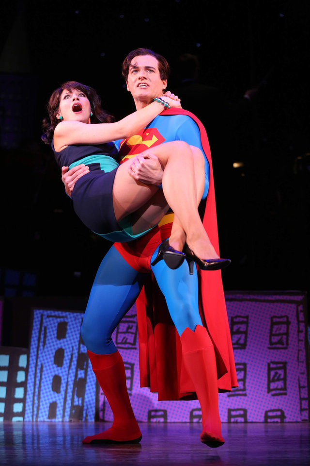 Photo - This undated image released by Helene Davis Public Relations shows Jenny Powers as Lois Lane, left, and Edward Watts  as Superman in Encore's
