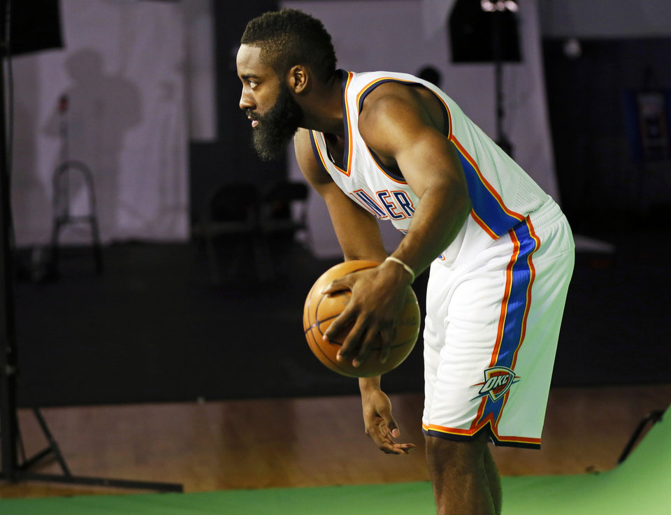 Photo - James Harden poses for a photo during media day for the Oklahoma City Thunder NBA basketball team at the Thunder Events Center in Oklahoma City, Monday, Oct. 1, 2012.  Photo by Nate Billings, The Oklahoman