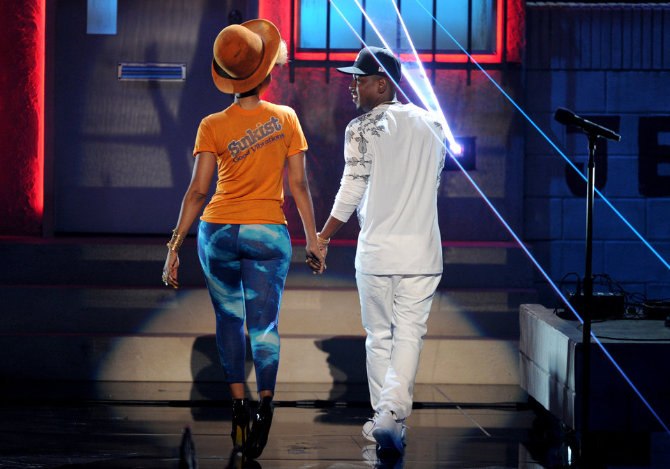 Erykah Badu, left and Kendrick Lamar perform onstage at the BET Awards at the Nokia Theatre on Sunday, June 30, 2013, in Los Angeles. (Photo by Frank Micelotta/Invision/AP)