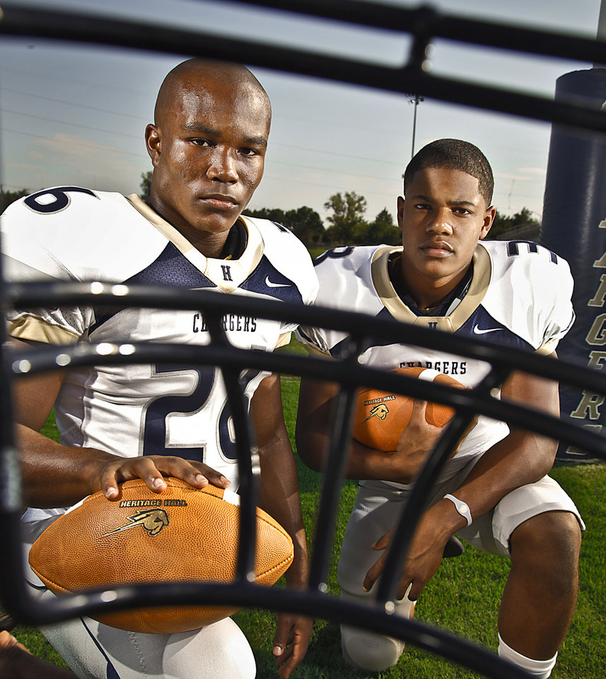 HIGH SCHOOL FOOTBALL: Heritage Hall football duo Barry Sanders Jr. and Sterling Shepard, from left, on Tuesday, August 16, 2011, in Oklahoma City, Okla. Photo by Chris Landsberger, The Oklahoman ORG XMIT: KOD