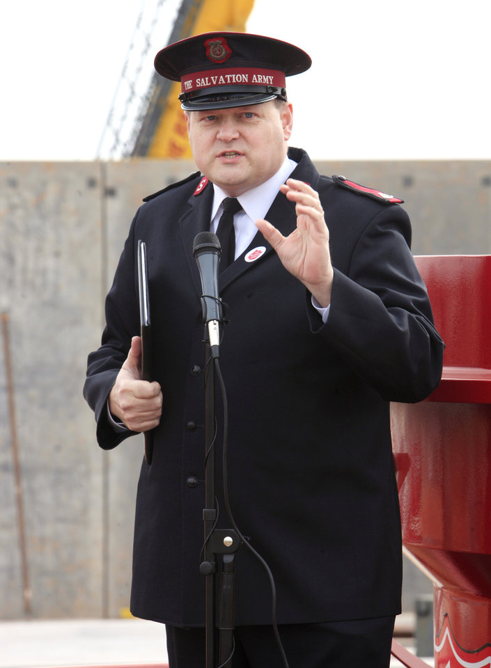 Photo -  Salvation Army Maj. Steve Morris talks Wednesday about the construction progress of the Center of Hope being built by the Salvation Army Central Oklahoma Area Command at NW 10 and Pennsylvania Avenue in Oklahoma City. Photo by Paul B. Southerland, The Oklahoman   PAUL B. SOUTHERLAND -