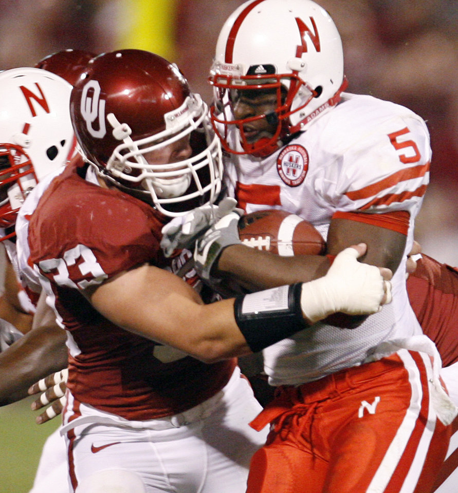 Oklahoma's Auston English (33) tries to stop Nebraska's Marlon Lucky (5) during the first half of the college football game between the University of Oklahoma Sooners (OU) and the University of Nebraska Huskers (NU) at the Gaylord Family-Oklahoma Memorial Stadium, on Saturday, Nov. 1, 2008, in Norman, Okla. 