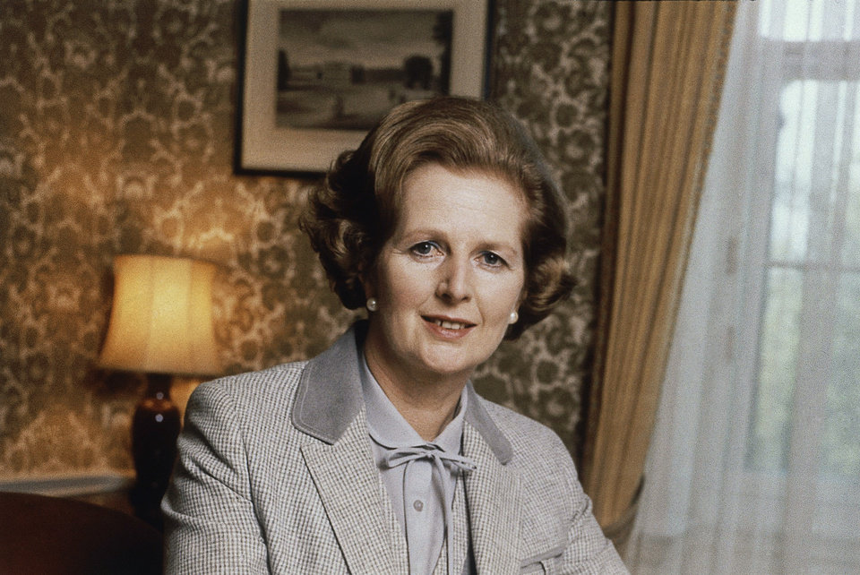 Photo - FILE - This is a 1980 file photo showing  British Prime Minister Margaret Thatcher. Ex-spokesman Tim Bell says that Thatcher has died. She was 87. Bell said the woman known to friends and foes as