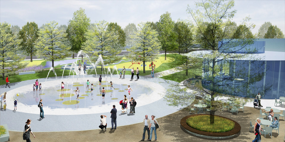 Plans call for a fountain, children's area and cafe to be located by the water stage in the southwest corner of the Myriad Gardens. Rendering by The Office of James Burnett