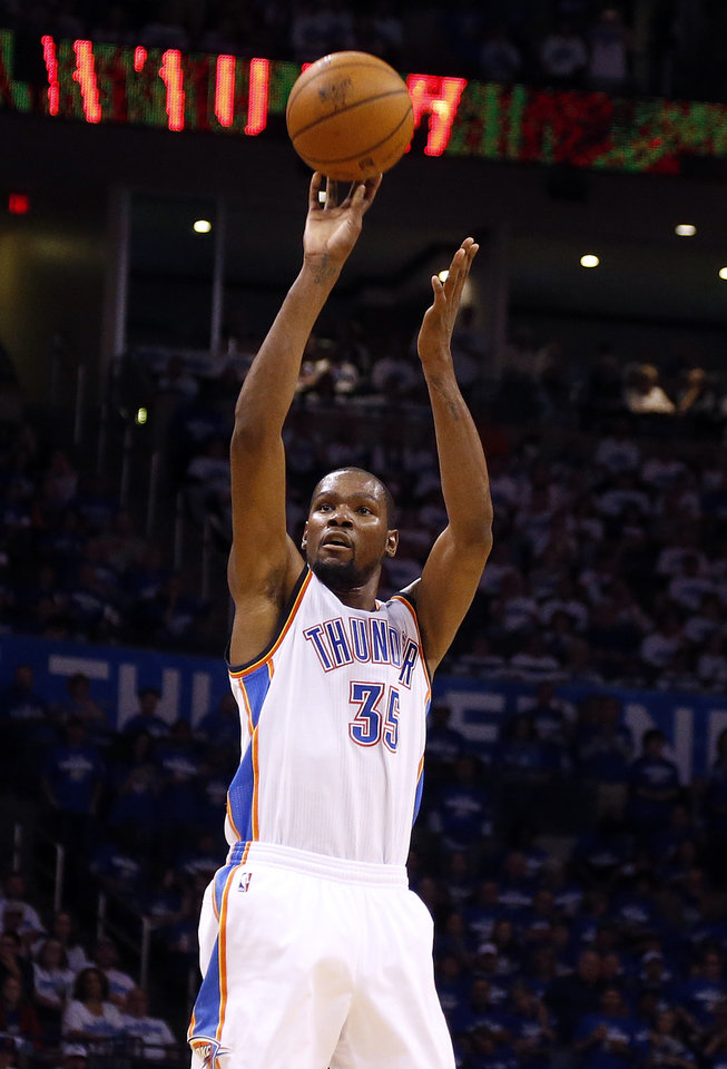 Photo - Oklahoma City's Kevin Durant (35) shoots during Game 4 of the Western Conference Finals in the NBA playoffs between the Oklahoma City Thunder and the San Antonio Spurs at Chesapeake Energy Arena in Oklahoma City, Tuesday, May 27, 2014. Photo by Nate Billings, The Oklahoman