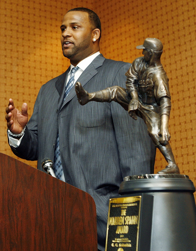 Photo - CC SABATHIA: C.C. Sabathia, the 2008 Warren Spahn Award winner, speaks during a press conference before the Warren Spahn Awards ceremony at the Cox Convention Center in Oklahoma City, Saturday, January 17, 2009. By Nate Billings, The Oklahoman ORG XMIT: KOD