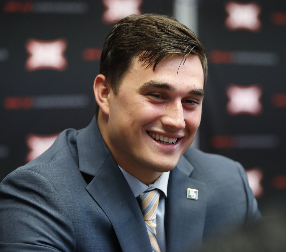 Photo - Baylor linebacker Clay Johnston speaks during Big 12 Conference NCAA college football media day Tuesday, July 16, 2019, at AT&T Stadium in Arlington, Texas. (AP Photo/David Kent)