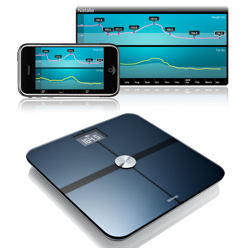 Photo - The Withings Wireless Scales work with mobile applications and websites to track your weight and other body information. PHOTO PROVIDED.