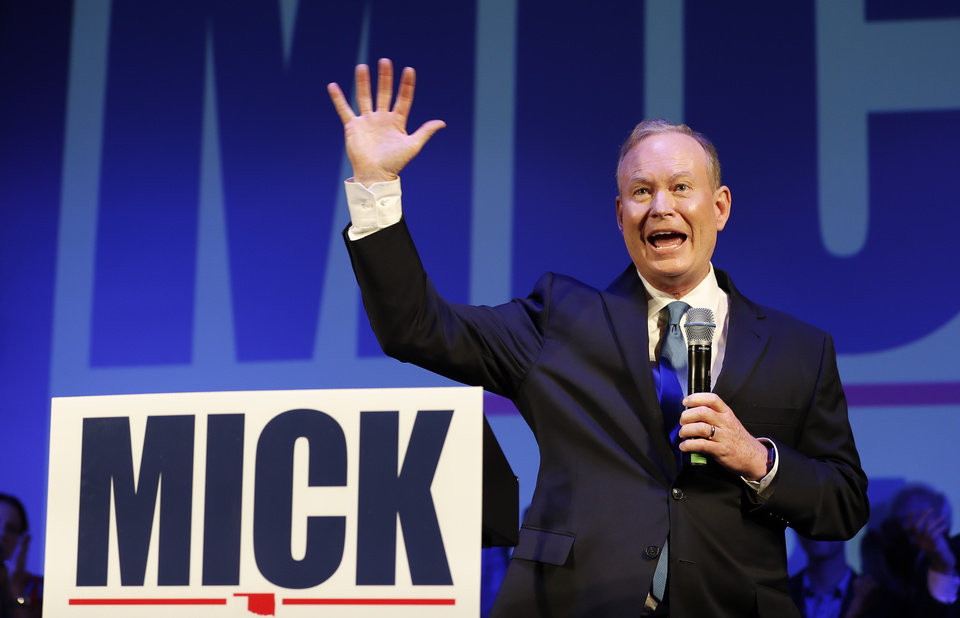 Photo - Mick Cornett waves to supporters and volunteers at his watch party after winning the Republican primary for Oklahoma Governor inside the Tower Theater in Oklahoma City, Okla. on Tuesday, June 26, 2018. (Photo by Alonzo Adams for The Oklahoman)