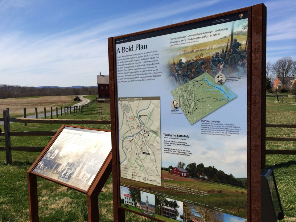 Photo - This Sunday, April 6, 2014 photo shows signage regarding the 1864 Valley Campaign and touring at the Monocacy National Battlefield south of Frederick, Md. The battle, which took place on July 9, 1864, is credited with delaying the Confederate move toward Washington, D.C. (AP Photo/Carole Feldman)