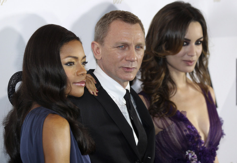 Actors Daniel Craig, center, Naomie Harris, left, and Berenice Marlohe attend the premiere of the latest James Bond film, �Skyfall,� in Sydney, Australia on Nov. 16. AP Photo