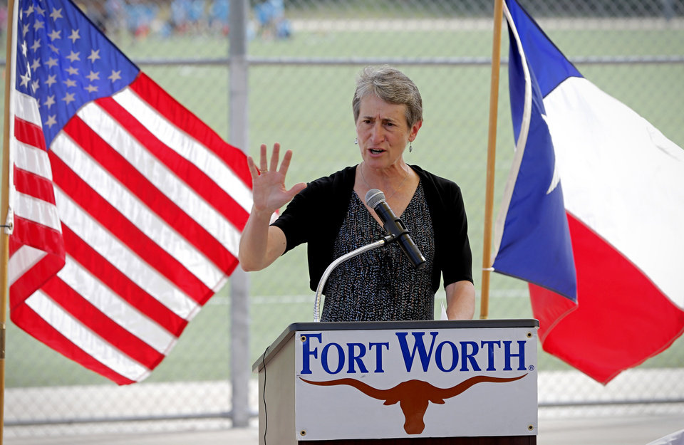 Photo - U.S. Interior Secretary Sally Jewell joins speaks in Gateway Park on Tuesday, July 8, 2014, in Fort Worth, Texas. Jewell has announced that more than $43 million will be distributed from a federal fund for recreation and conservation projects nationwide. Jewell joined Fort Worth Mayor Betsy Price and other officials to announce the distribution from the Land and Water Conservation Fund. (AP Photo/Fort Worth Star-Telegram, Star-Telegram)
