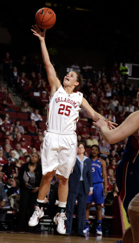 Oklahoma's Whitney Hand (25) shoots during the women's college basketball game between the Oklahoma Sooners and the Kansas Jayhawks at the LLoyd Noble Center in Norman, Okla., Sunday, March, 4, 2011. Photo by Sarah Phipps, The Oklahoman