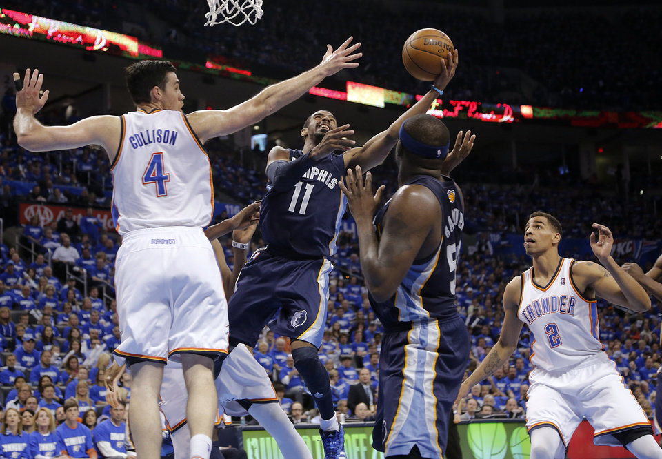 Photo - Oklahoma City's Nick Collison (4) defends on Memphis' Mike Conley (11) during the second round NBA playoff basketball game between the Oklahoma City Thunder and the Memphis Grizzlies at Chesapeake Energy Arena in Oklahoma City, Sunday, May 5, 2013. Photo by Chris Landsberger, The Oklahoman