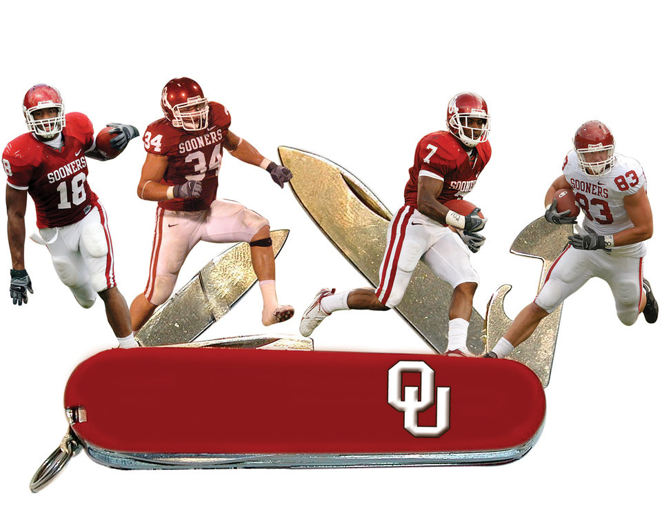 Photo - SWISS ARMY KNIFE GRAPHIC with photos from left: 1) OU tight end Jermaine Gresham (18) gets tripped up by Miami's Willie Cooper (28) after a reception in the third quarter during the University of Oklahoma Sooners (OU) college football game against the University of Miami Hurricanes (UM) at the Gaylord Family -- Oklahoma Memorial Stadium, in Norman, Okla., Saturday, Sept. 8, 2007. OU won, 51-13. By NATE BILLINGS, The Oklahoman      2)  UNIVERSITY OF OKLAHOMA: OU college football player Matt Clapp   PROVIDED PHOTO    3) DeMarco Murray (7) takes the ball up field during the first half of the college football game between the University of Oklahoma Sooners (OU) and University of Tennessee-Chattanooga Mocs (UTC) at the Gaylord Family -- Oklahoma Memorial Stadium on Saturday, Aug. 30, 2008, in Norman, Okla.   Staff Photo by Steve Sisney/The Oklahoman       4) UNIVERSITY OF OKLAHOMA: OU college football player Brody Eldridge   PROVIDED PHOTO