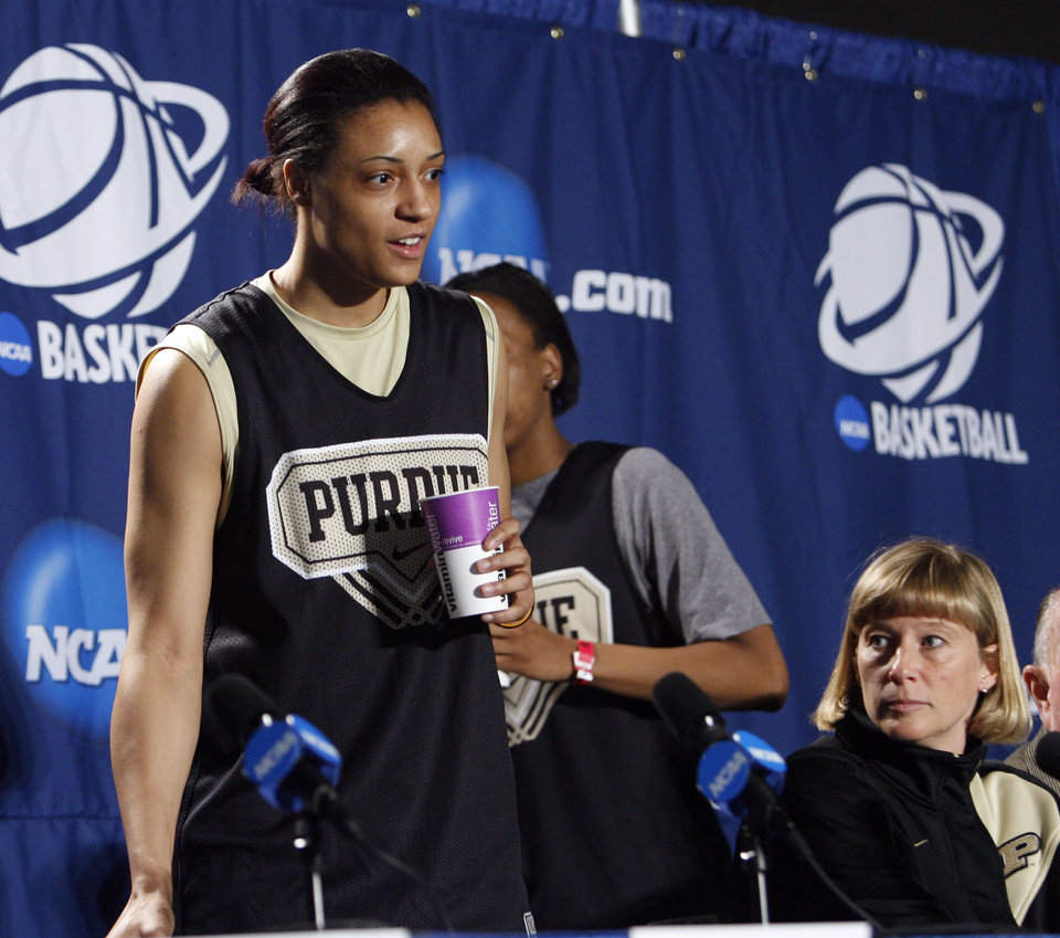 Purdue player Lindsay Wisdom-Hylton and head coach Sharon Versyp prepare to speak to the media before their elite eight appearance in NCAA women's basketball tournament at the Ford Center in Oklahoma City, Okla. on Monday, March 30, 2009. 