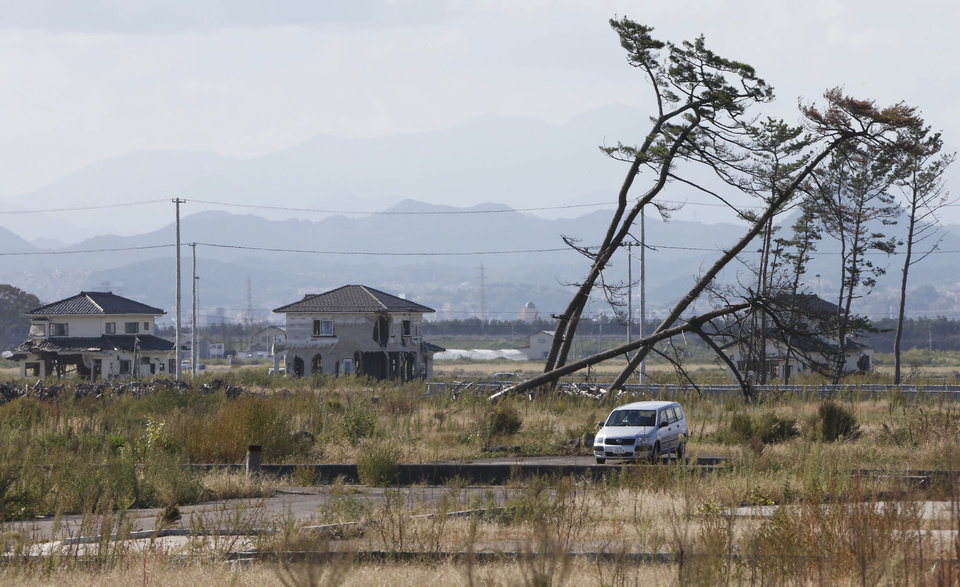 Photo -   In this Oct. 9, 2012 photo, a car is parked by leaning pine trees, part of the windbreak forest severely damaged by the March 11, 2011 earthquake and tsunami, near the Arahama Beach in Sendai, northeastern Japan. Japan's accounting of its budget for reconstruction from the disasters is crammed with spending on unrelated projects, while all along Japan's northeastern coast, dozens of communities remain uncertain of whether, when and how they will rebuild. (AP Photo/Koji Sasahara)