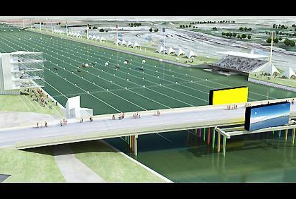 Photo - An artist's drawing shows the proposed improvements to the east side of the Oklahoma River.