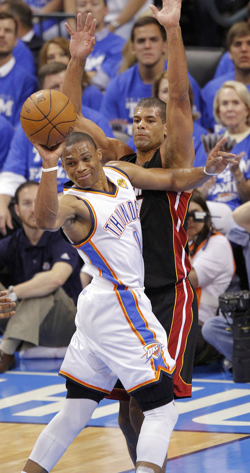 Miami's Shane Battier (31) defends on Oklahoma City's Russell Westbrook (0) during Game 2 of the NBA Finals between the Oklahoma City Thunder and the Miami Heat at Chesapeake Energy Arena in Oklahoma City, Thursday, June 14, 2012. Photo by Chris Landsberger, The Oklahoman