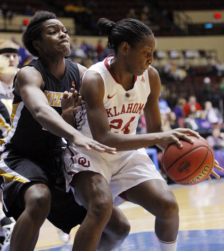 OU's Sharane Campbell (24) dribbles as Missouri's BreAnna Brock (22) defends during the Big 12 tournament women's college basketball game between the University of Oklahoma Sooners and the University of Missouri Tigers at Municipal Auditorium in Kansas City, Mo., Thursday, March 8, 2012. Photo by Nate Billings, The Oklahoman