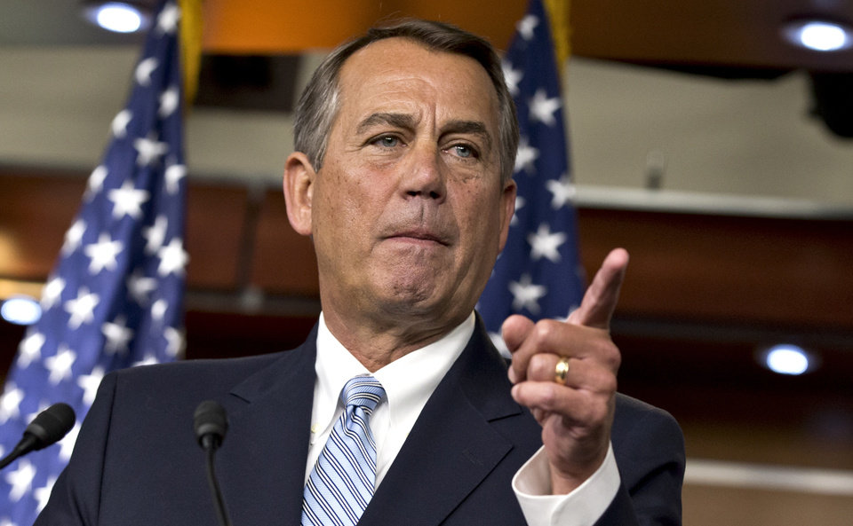 Photo - House Speaker John Boehner, R-Ohio, repeats his call for President Obama to submit a budget proposal to Congress, during a news conference at the Capitol in Washington, Wednesday, Feb. 6, 2013. Eager to buy time and avoid economic pain, President Barack Obama urged Congress on Tuesday to pass targeted short-term spending cuts and higher taxes as a way to put off sweeping, automatic cuts that would slice deeply into military and domestic programs starting March 1. (AP Photo/J. Scott Applewhite)