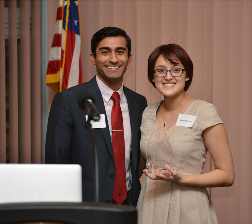 "Photo -  Aspiring Americans founder and executive director Akash Patel, left, poses for a photo with the fledgling nonprofit's first scholarship winner, Zaira Estrada, who received the Aspire Higher Award for ""personal dedication to serving others while striving for excellence in the face of great adversity"" at a recent benefit event. Photo provided"