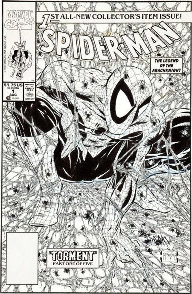 The original art for the cover to 1990�s �Spider-Man� No. 1 will be auctioned this summer. Heritage Auctions