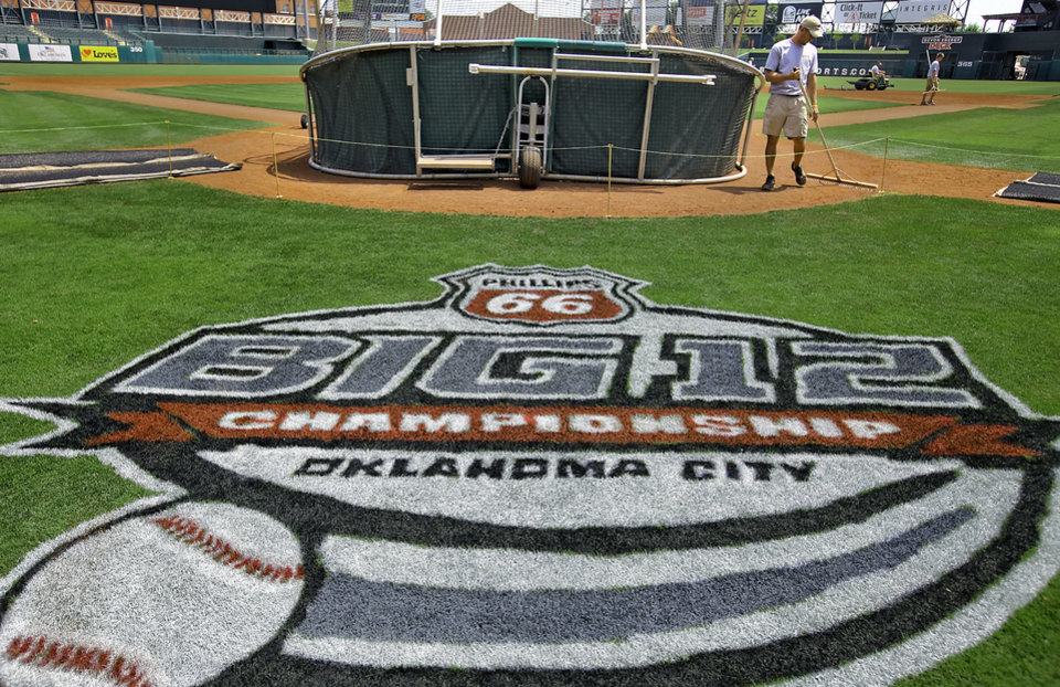 PREPARATION / COLLEGE BASEBALL / BIG 12 TOURNAMENT:  Grounds crew member Joey Gerking prepares the field at the Chickasaw Bricktown Ballpark for the start of the Big 12 Baseball Tournament on Tuesday, May 22, 2012, in Oklahoma City, Oklahoma. Photo by Chris Landsberger, The Oklahoman