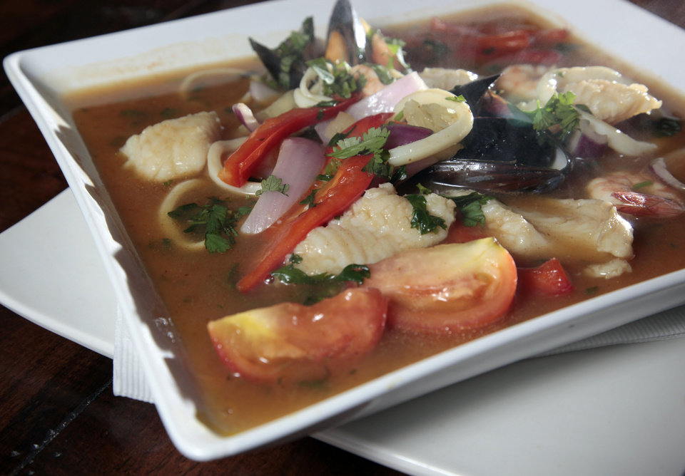 Parhihuela is a traditional Peruvian fisherman's soup served at Ceviche House in Warr Acres. <strong>SARAH PHIPPS - THE OKLAHOMAN</strong>