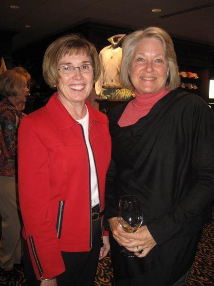 GOLF SHOP GRAND OPENING...Bette MacKellar and Millie Hightower enjoy the party. (Photo by Helen Ford Wallace).