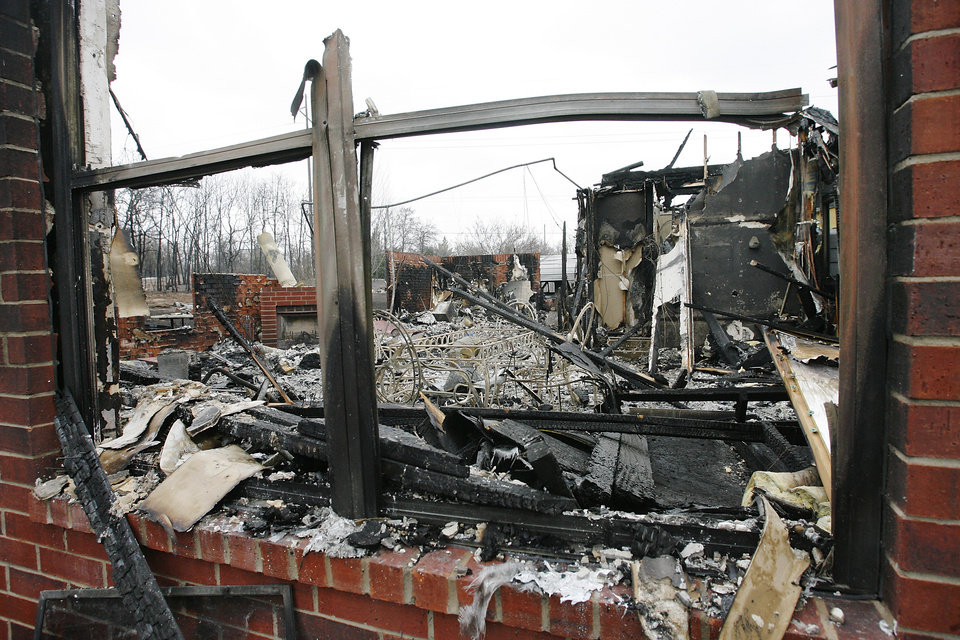 Fire destroyed this home at 11533 Berkshire in Oakwood East Royale. Photo by Jim Beckel, The Oklahoman