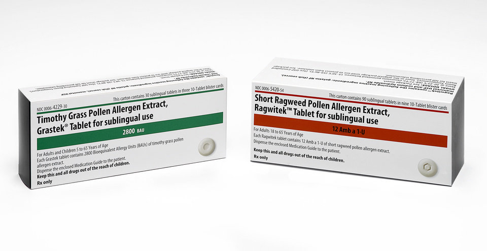 Photo - This product image provided by Merck shows the packaging for newly FDA-approved allergy medications Grastek, left, and Ragwitek. Grastek is used in the treatment of diagnosed Timothy grass pollen induced allergic rhinitis, with or without conjunctivitis, in adults and children 5 years of age and older. Ragwitek is indicated as immunotherapy for diagnosed ragweed pollen induced allergic rhinitis, with or without conjunctivitis, in adults 18 years of age and older. (AP Photo/Merck)