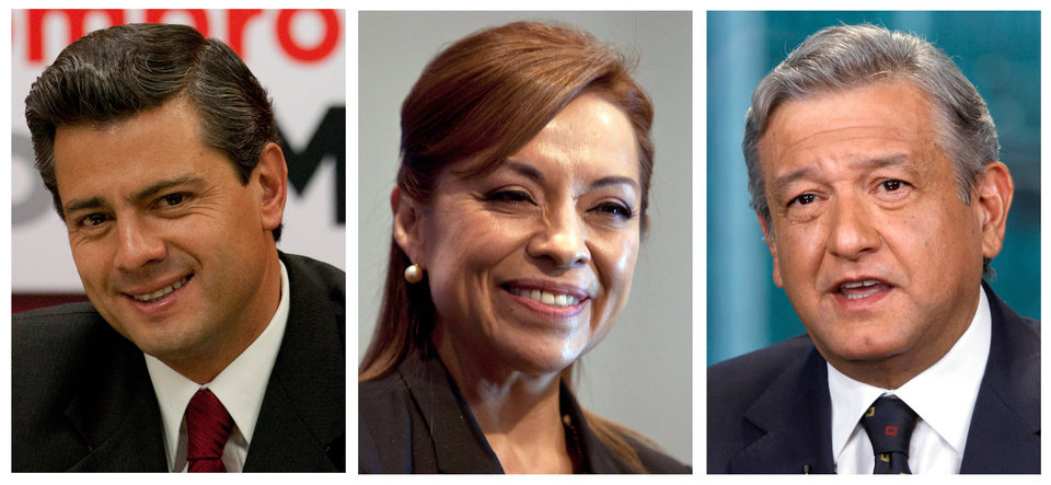 Photo -   FILE - This combo picture of three file photos shows presidential candidates, from left, Enrique Pena Nieto of the Institutional Revolutionary Party, PRI, Josefina Vazquez Mota of the National Action Party, PAN, and Andres Manuel Lopez Obrador of the Democratic Revolutionary Party, PRD, during different events in Mexico City. Mexico's scheduling conflict between a presidential candidates' debate and a soccer quarterfinals match got ugly Tuesday, May 1, 2012. It seems to have been turned into a grudge match, between whether Mexicans will tune in to watch politicos batting around ideas, or two of the nation's best teams playing soccer. Mexico will hold presidential elections on July 1, 2012. (AP Photo, Files)